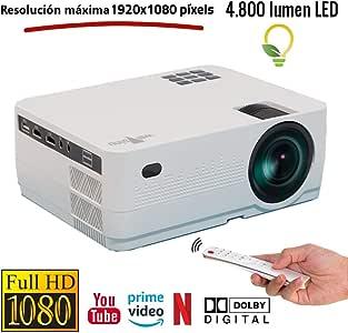 Proyector HD Nativo Unicview HD450 Android Bluetooth 4.800 lúmenes LED, Maxima luminosidad Portátil LED Cine en casa AC3 HDMI USB MKV Sin Input Lag Corrección Horizontal y Vertical (Blanco): Amazon.es: Electrónica