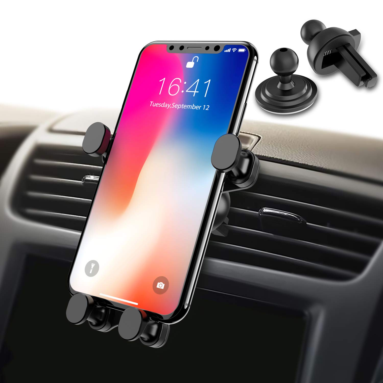 Syncwire 2-in-1 Air Vent Phone Holder, Gravity Automatic Locking Universal Car Cell Phone Mount Compatible iPhone Xs MAX/XS/XR/X/8/8 Plus, Samsung Galaxy S10 Plus/S10/S9/S8/S7/Note Series and More by Syncwire