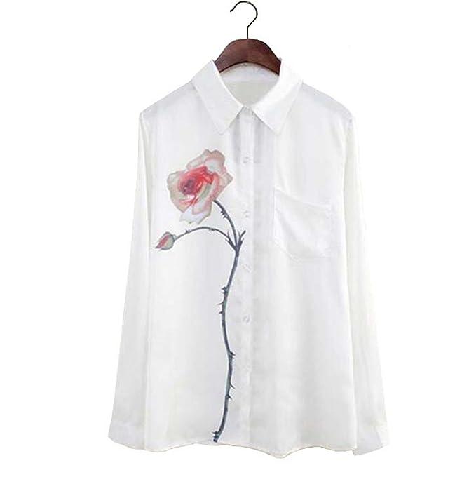 Amazon Com Women Blouses Rose Flower Print Long Sleeve Tops Shirt