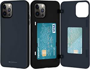 Goospery iPhone 12 Pro Max Wallet Case with Card Holder, Protective Dual Layer Bumper Phone Case (Midnight Blue) IP12PM-MDB-NVY