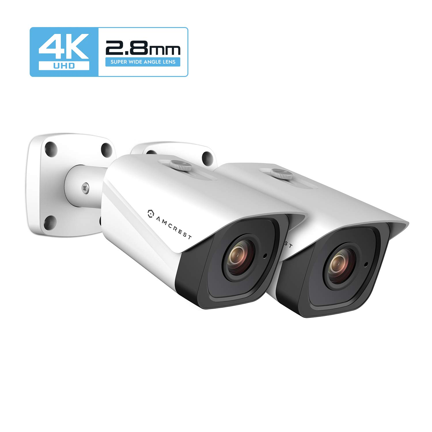 2-Pack Amcrest UltraHD 4K 8MP Bullet POE IP Camera, 3840×2160, 131ft NightVision, 2.8mm Lens, IP67 Weatherproof, MicroSD Recording, White 2PACK-IP8M-2496EW