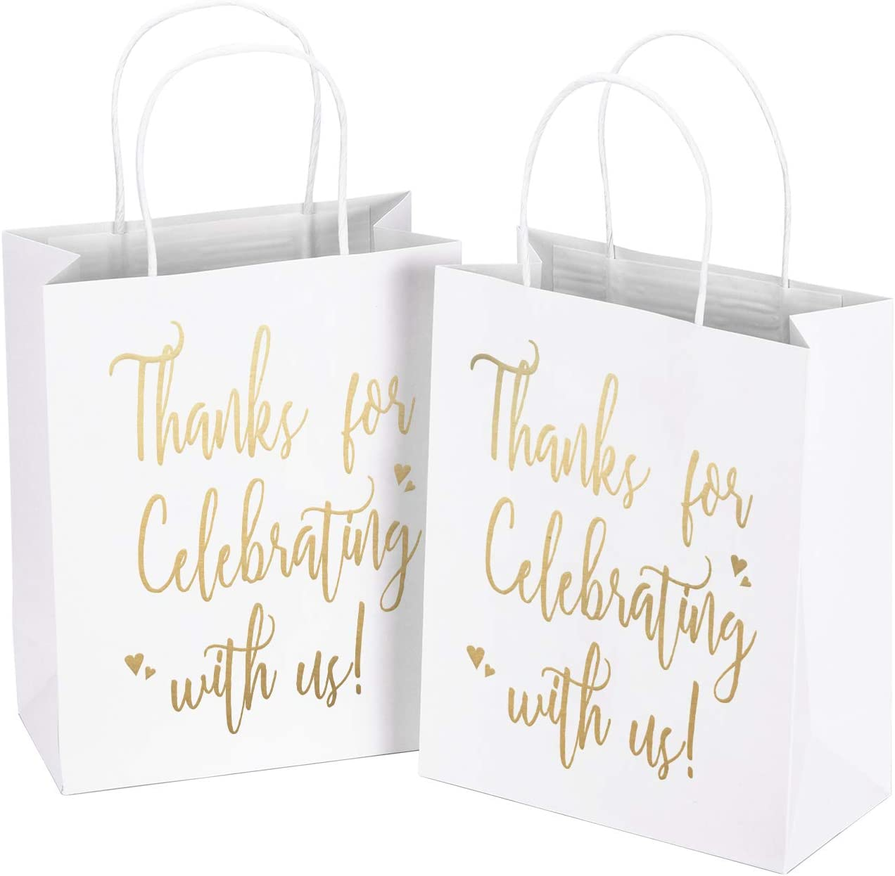 "LaRibbons Medium Size Gift Bags - Gold Foil""Thanks for Celebrating with us"" White Paper Bags with Handles for Wedding, Birthday, Baby Shower, Party Favors - 12 Pack - 8"" x 4"" x 10"""