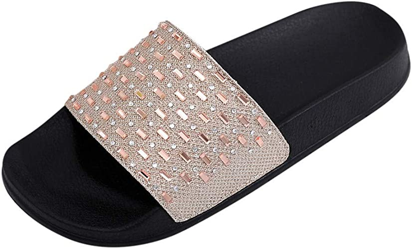 Diamante Sliders Open Toe Flat Slip On