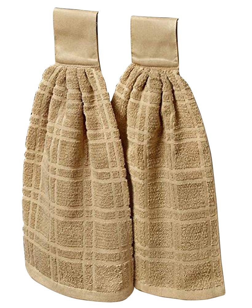 The Lakeside Collection Set of 2 Hanging Kitchen Towels- Sand
