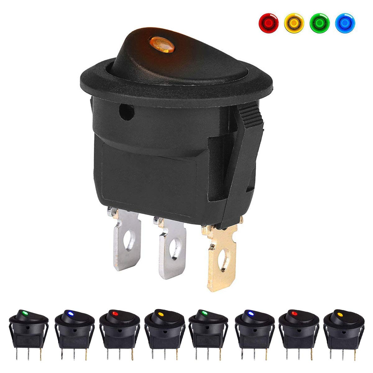 8 Pcs DC 12V 20A Car Boat Truck Trailer Marine Auto Illuminated Round Rocker Switch Button ON OFF Control Toggle Switch SPST with 4 color LED Dot Light