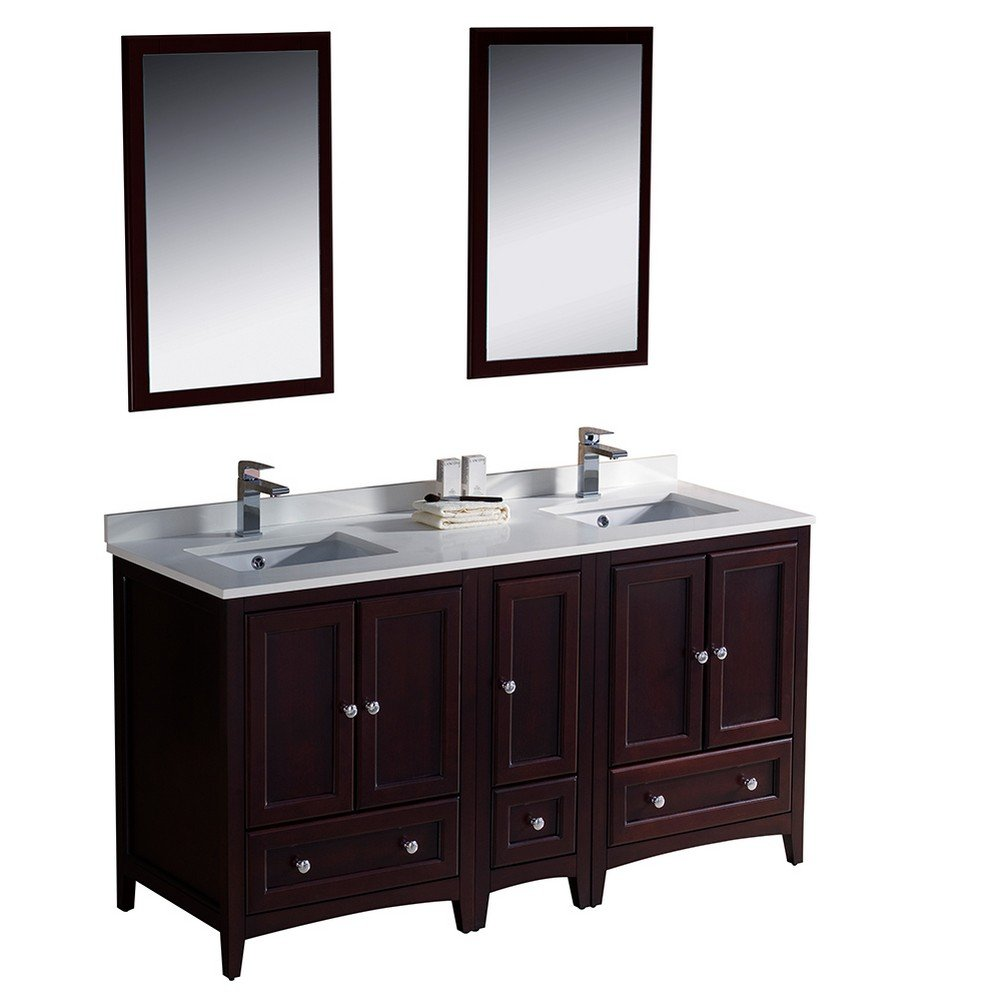Fresca Bath FVN20-241224MH Oxford 60'' Double Sink Vanity with Side Cabinet, Mahogany