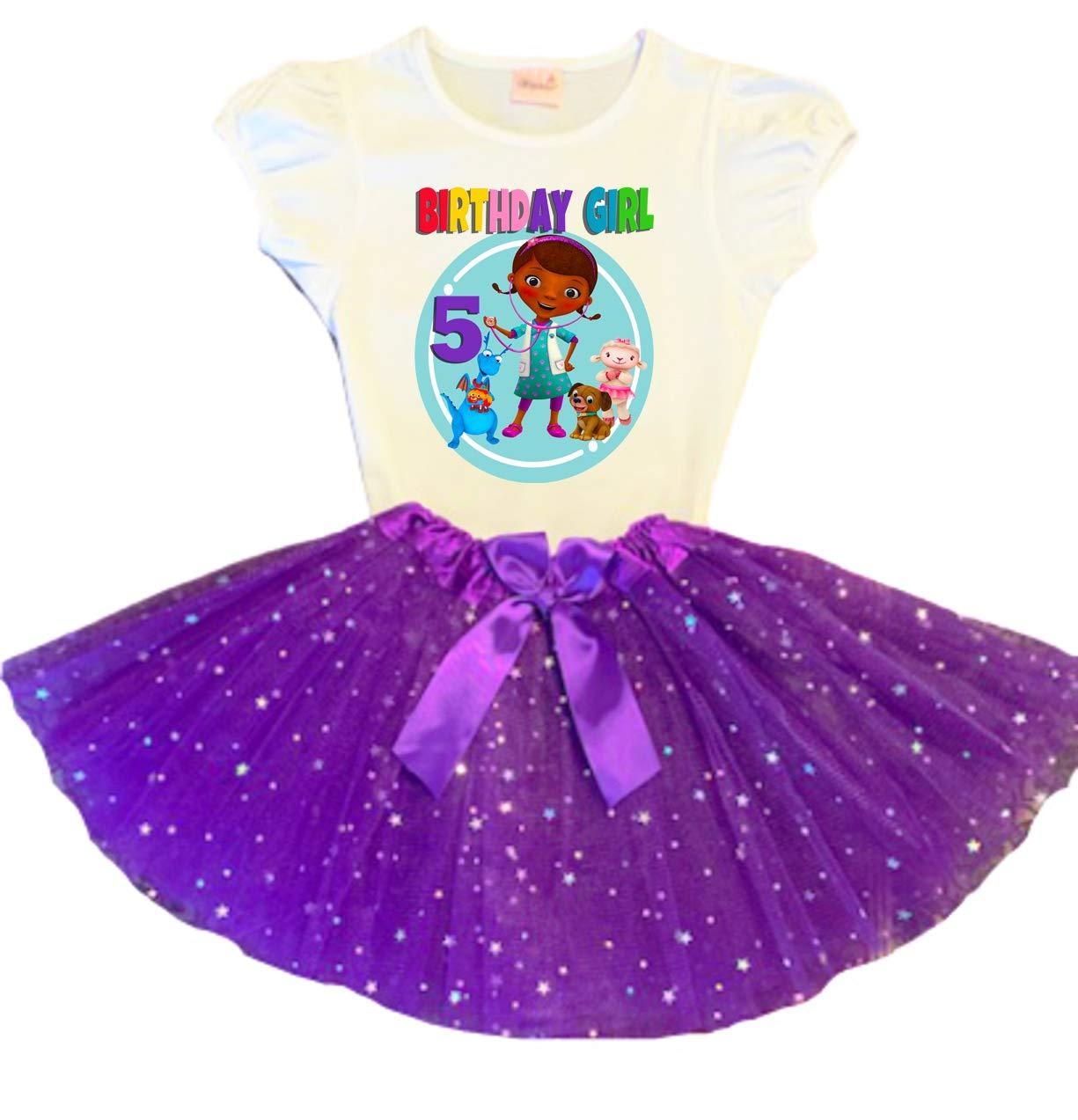 Doc McStuffins Birthday Tutu 5th Birthday Party Dress Purple Tutu Outfit Shirt