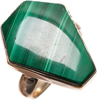Size 5 Vintage Mexican Malachite and Sterling Silver Ring