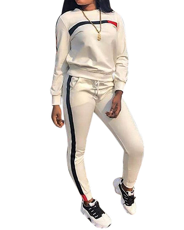 Top-Vigor Womens 2PCS Sweatsuits Set Long Sleeve Top and Bodycon Pants Jogging Suit Tracksuit for Women Ladies Plus Size White by Top-Vigor