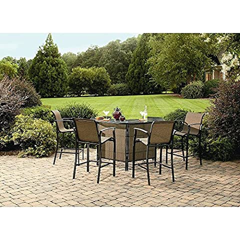 Outdoor Patio Furniture Bar Height Table and Chairs Set 5 Pieces Curved Table with Umbrella Support, Shelves and Glass Top, Steel Tan