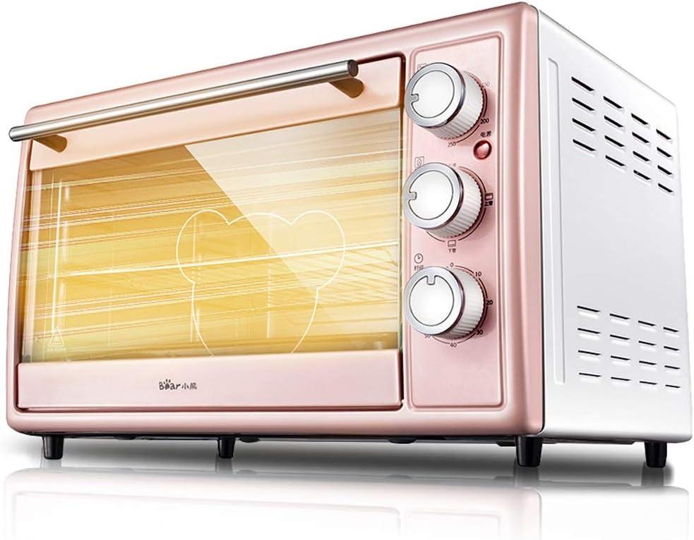Horno tostador de 3 capas de 3 capas, horno tostador de mini pizza, horno asador, mezclas de horno de horneado fácil, platos para hornear para horno, rosa