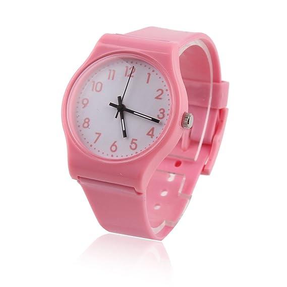 Damara Colores Unisex Reloj De Pulsera Ajustable Para Jóvenes Cuarzo Relojes De Pulsera,Rosado
