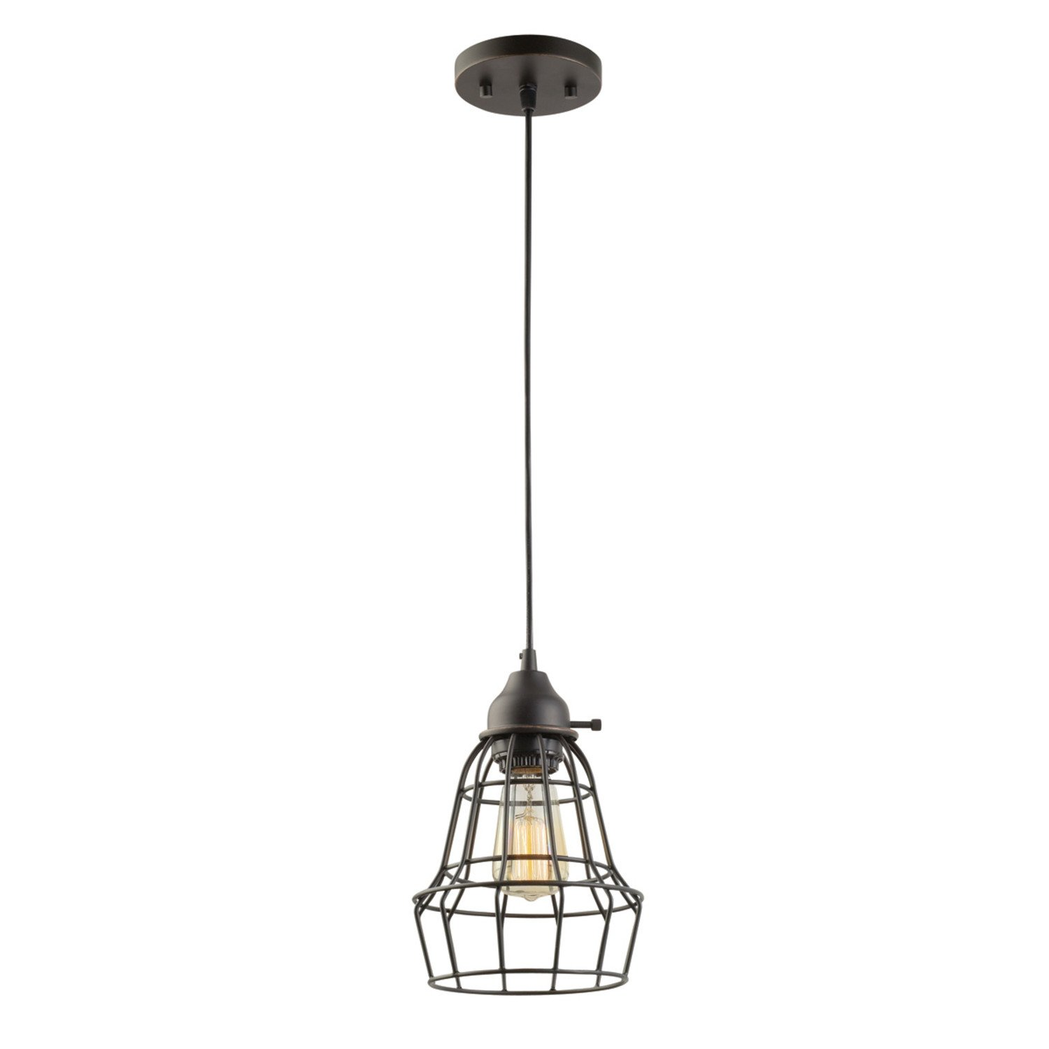 Globe Electric 1-Light 7'' Vintage Hanging Caged Pendant, Oil Rubbed Bronze, Black Cord, 64172