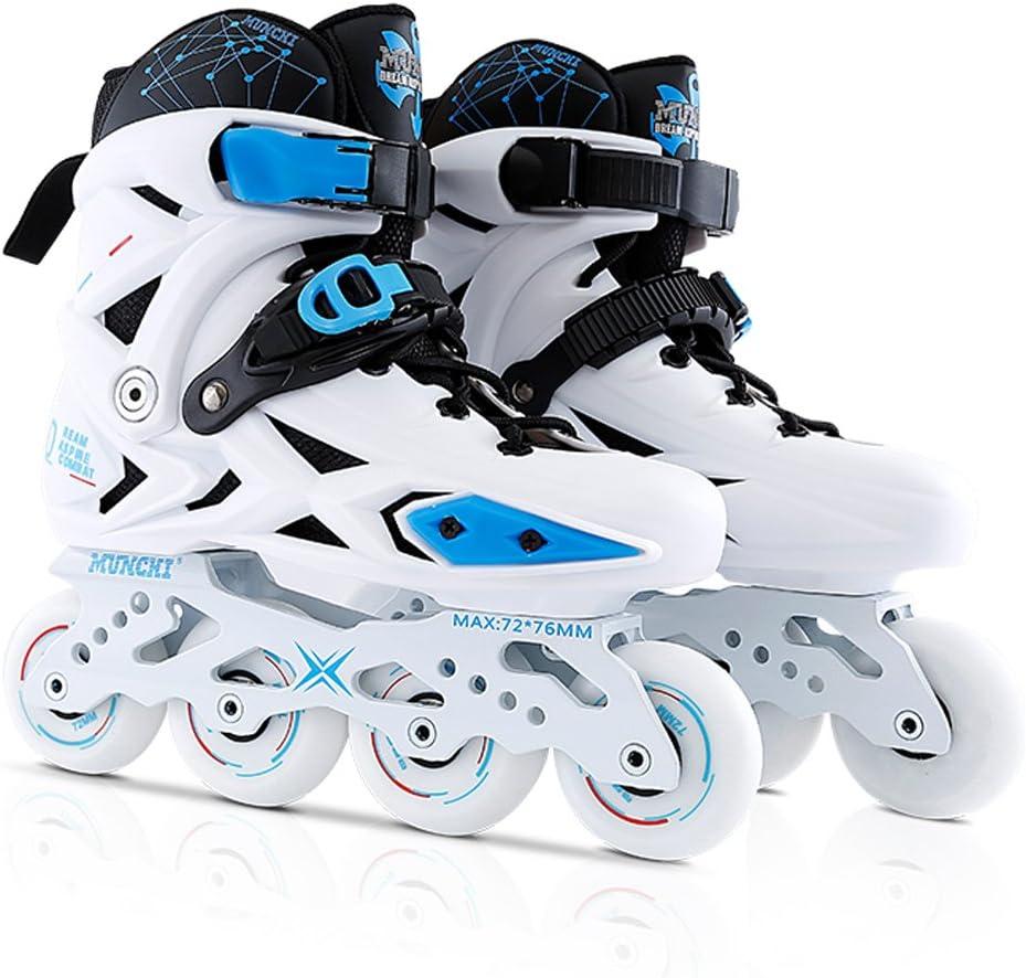Vampsky プロフェッショナルアイススケートファンシーシングルラインローラースケート成人用インラインスケート男女用ユニバーサルスケートスケート 白い+青