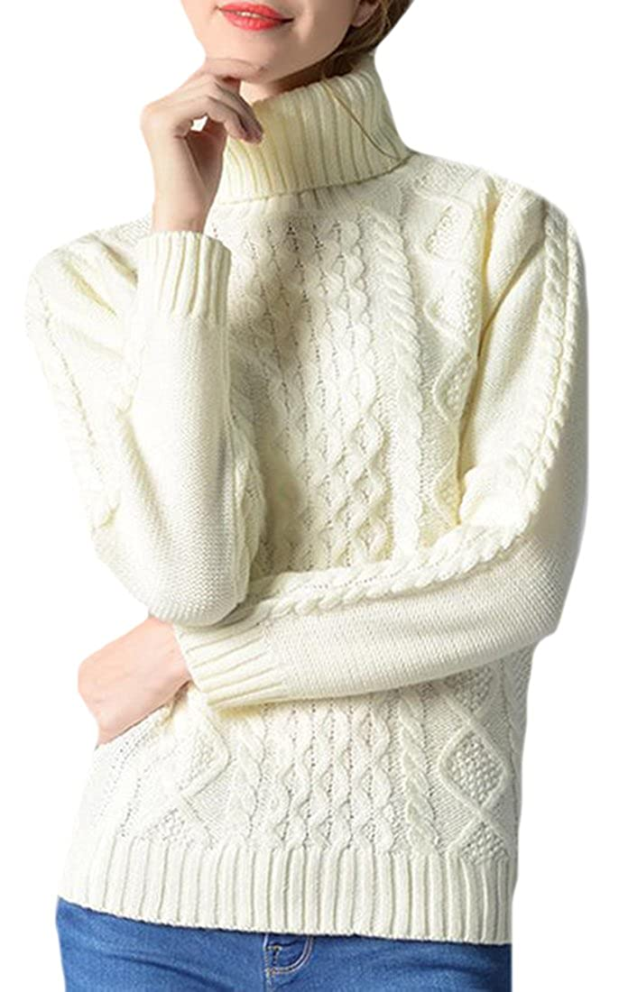 KXP Womens Turtleneck Weave Pullover Long Sleeve Jumper Sweaters White M