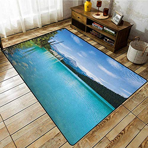 Collection Area Rug,Landscape,Historical Ancient Castle by The Crystal Color Lake Canadian Rurals Art,Anti-Slip Doormat Footpad Machine Washable Turquoise Green