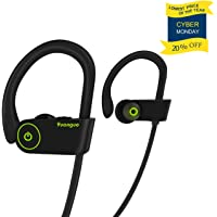 [DESIGNED FOR SPORT]Bluetooth Headphones HolyHigh Y2 Wireless Sport Earphones w/ Mic IPX7 Waterproof Sweatproof Bluetooth Earphone HD Stereo Noise Cancelling Bluetooth Earbuds for Gym Running Workout (black)