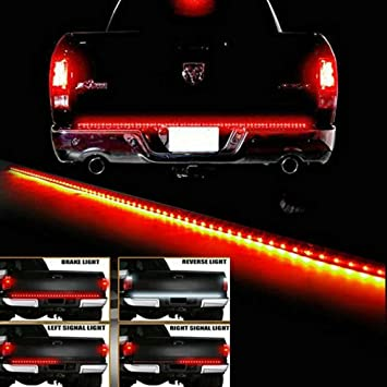 Amazon waterproof 60 red white tailgate led strip light bar waterproof 60quot red white tailgate led strip light bar truck reverse brake turn signal tail mozeypictures Gallery