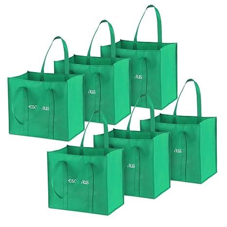 esonmus Bolsas de Supermercado Grandes no Tejidas Reutilizables Multiusos Bolsas de Compras Plegables Bolsos de Almacenamiento con Asas Dobles ...