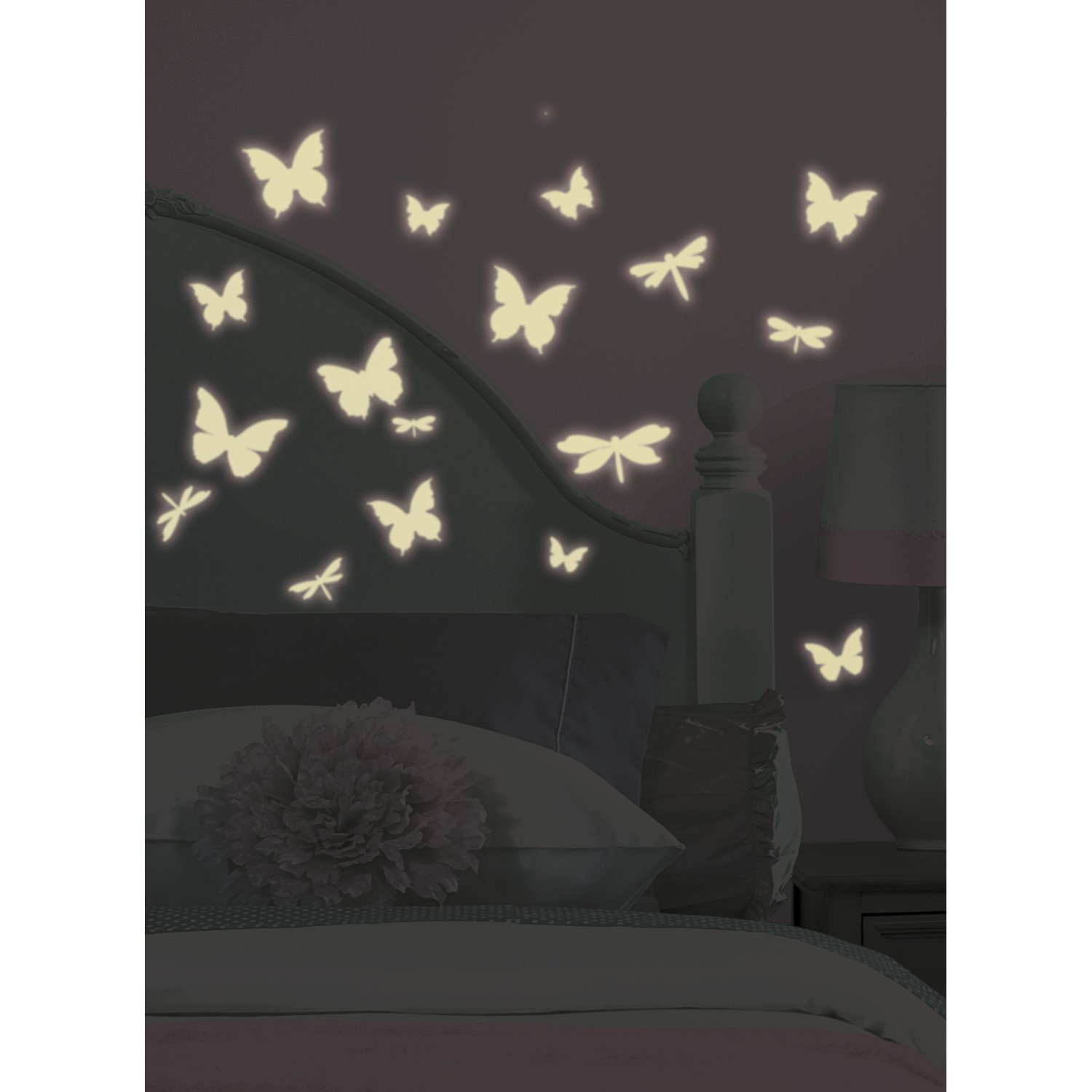 Wall stickers glowing - Amazon Com Roommates Rmk1706scs Butterfly And Dragonfly Glow In The Dark Wall Decals Home Improvement