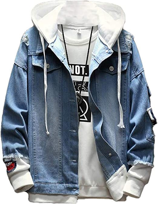 Yeirui Mens Plus Size Ripped Distressed Loose Button Down Hoodie Denim Trucker Jacket
