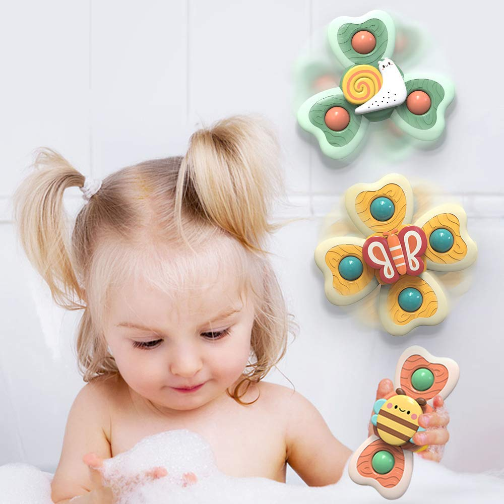 Baby Bath Toys LZZAPJ Suction Cup Spinning Top Toys 3 Pack Toddler Toys