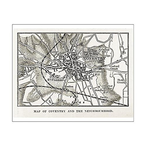 Media Storehouse 10x8 Print of Map of Coventry in Warwickshire, England Victorian Engraving, 1840 (14756192) -