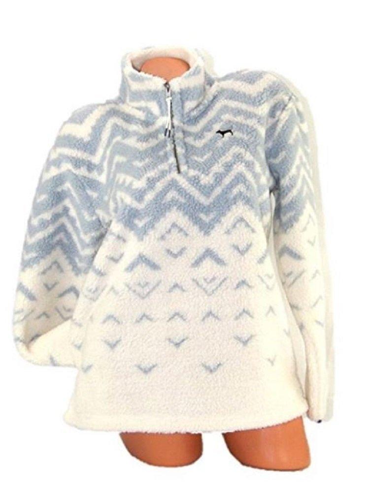 Victoria's Secret PINK Pullover Sherpa Boyfriend Geometric Sweater Half Zip (Medium)