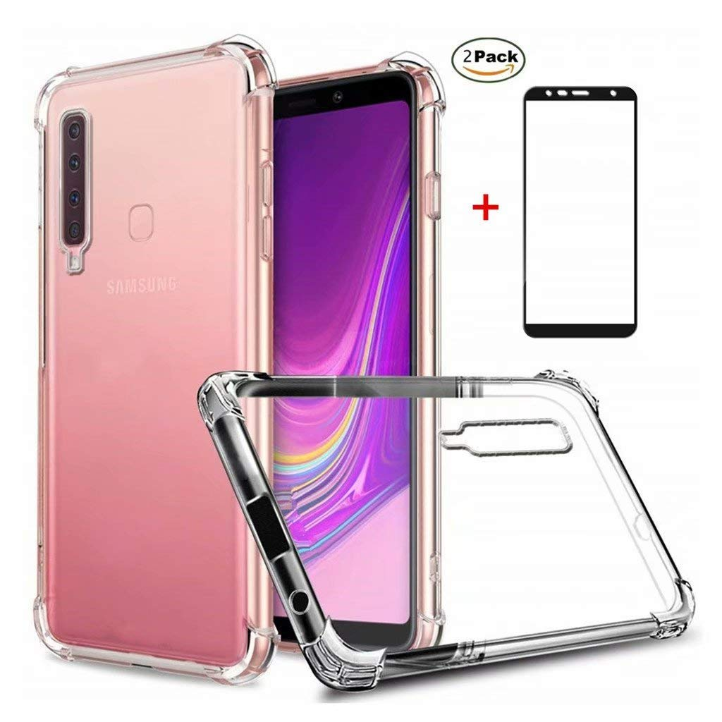 Funda Samsung Galaxy J4 Plus Ttimao Soft Transparente Silicona Dise/ño de coj/ín de Aire Protecci/ón contra caidas Ultra Delgada Anti-Shock TPU Cover+2*Protector de Pantalla de Vidrio Temperado
