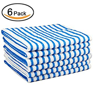 Kleanner Microfiber Striped Kitchen Dish Towel Tea Towel, Multi-purpose Aborbent and Fast Dry Cleaning Towel, Size 15 x 19 Inch, Set of 6 Packs