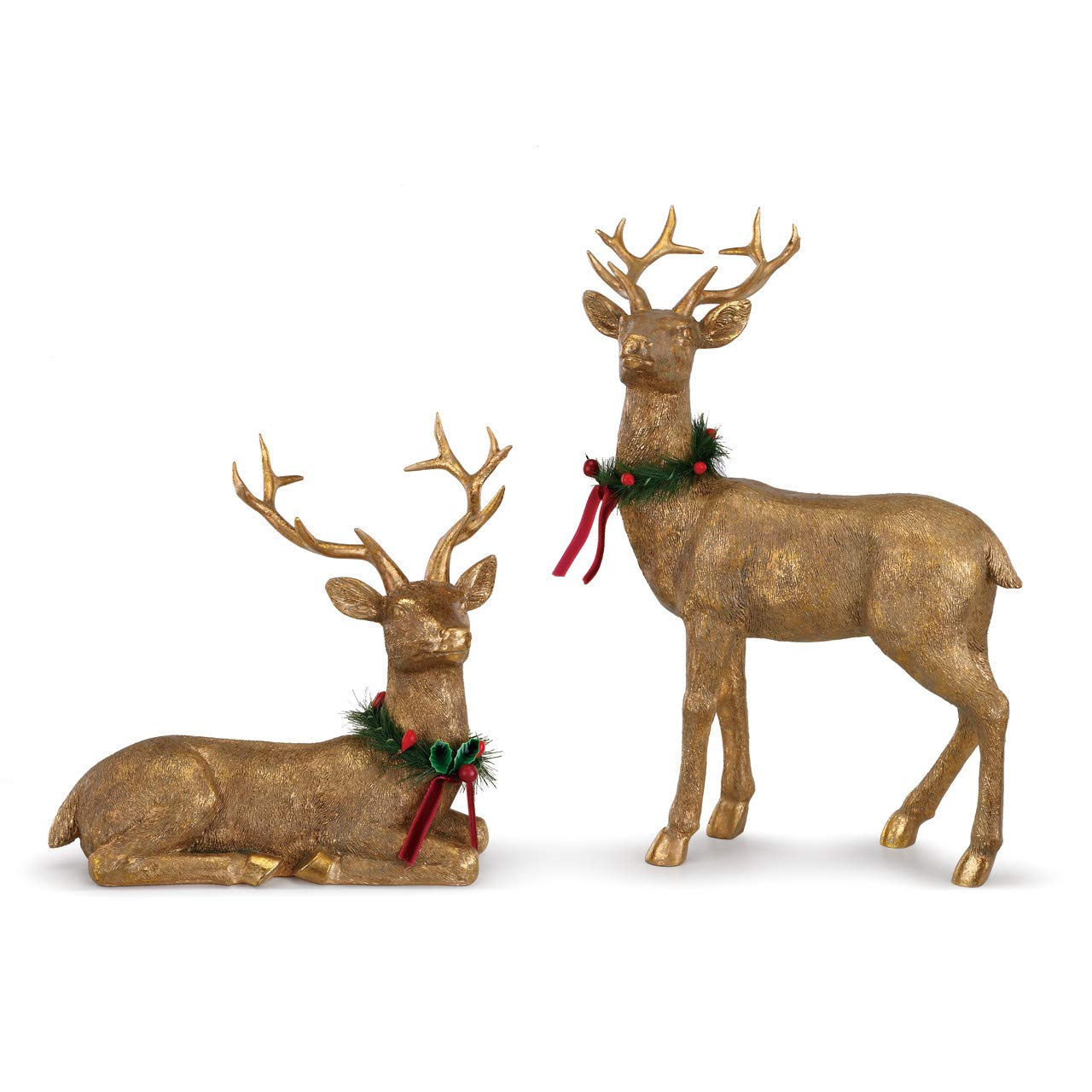 DEMDACO Goldtone Deer with Neck Wreaths 8 x 11 Inch Resin Christmas Figurines Assorted Set of 2