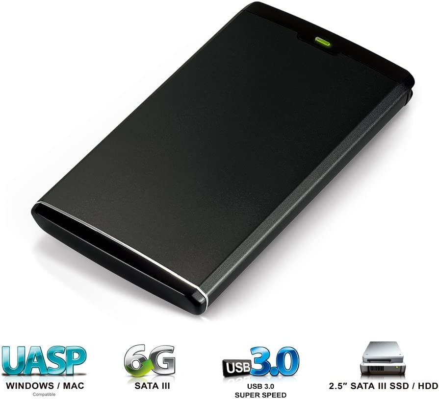"Mediasonic USB 3.0 2.5"" SATA Hard Drive Enclosure (Aluminum Body) – Optimized for SSD, Support UASP and SATA 3 HDD (HDR-SU3)"
