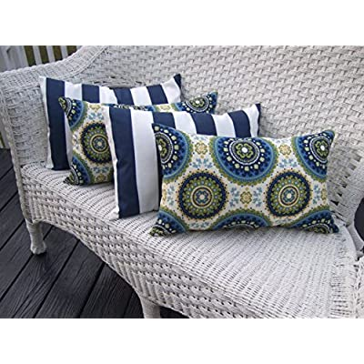 Resort Spa Home Decor Set of 4 Indoor/Outdoor Decorative Lumbar/Rectangle Pillows - 2 Blue, Green Bohemian & 2 Navy Blue & White Stripe: Home & Kitchen