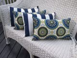 Set of 4 Indoor / Outdoor Decorative Lumbar / Rectangle Pillows - 2 Blue, Green Bohemian & 2 Navy Blue & White Stripe