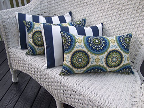 Set of 4 Indoor / Outdoor Decorative Lumbar / Rectangle Pillows - 2 Blue, Green Bohemian & 2 Navy Blue & White Stripe by Resort Spa Home Decor