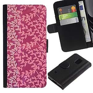 SAMSUNG Galaxy S5 V / i9600 / SM-G900 Modelo colorido cuero carpeta tirón caso cubierta piel Holster Funda protección - Pink Subtle Tone Joy Small Pattern
