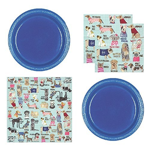 FAKKOS Design Dog Party Supplies for 20 Guests Includes Plastic Appetizer/Dessert Plates and Large DogF Theme Napkins -