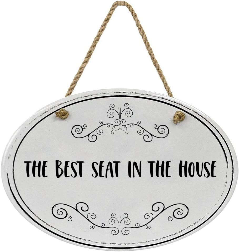 """""""The Best Seat In The House"""" Ceramic Funny Bathroom Sign 