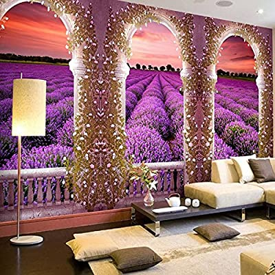XLi-You 3D Romantic Lavender Farm Landscape Paintings Sofa Tv Background Wall Paper