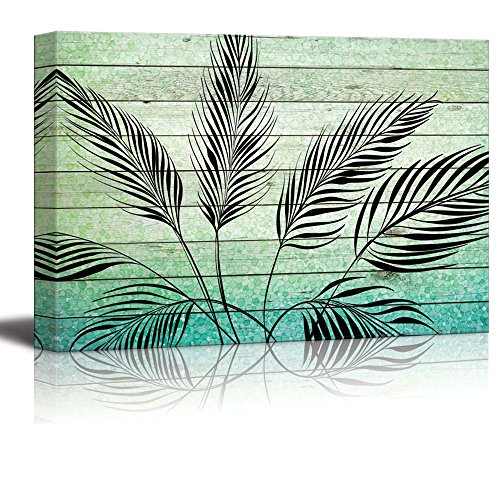 Illustration of Vector Leaves Over Green Gradient Wood Panels
