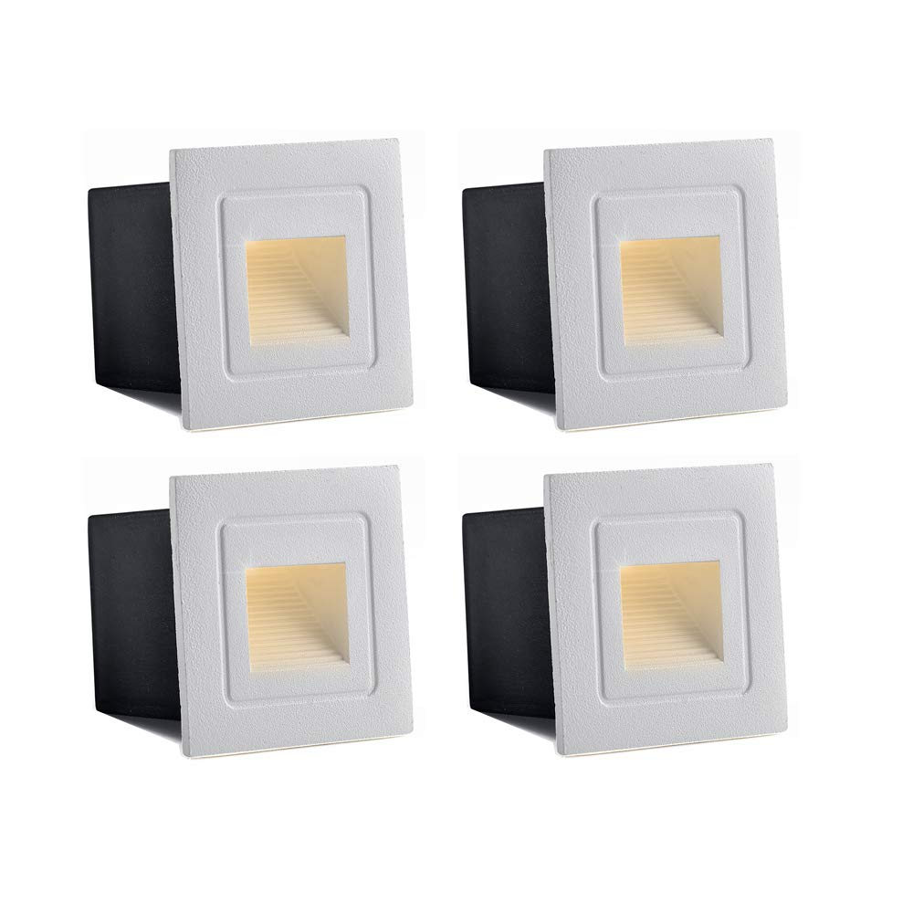 INHDBOX Waterproof Corner/Deck/Recessed Step Lights,3W 85-220V 3200K LED Stairs Step Night Light Indoor/Outdoor Wall Lighting-Warm White Light (White- 4 Pack)