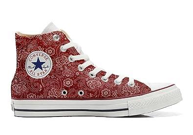 Converse All Star Hi Customized personalisierte Schuhe (Handwerk Schuhe) Red Paisley