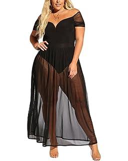 47f9fcf5e3f XAKALAKA Women s Plus Size Lace Off Shoulder Sweetheart Bodysuit Sheer Club  Long Dress