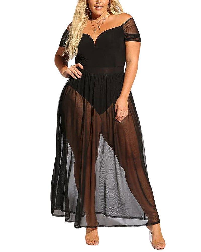 940c45a81b4 XAKALAKA Women's Plus Size Lace Off Shoulder Sweetheart Bodysuit Sheer Club  Long Dress at Amazon Women's Clothing store: