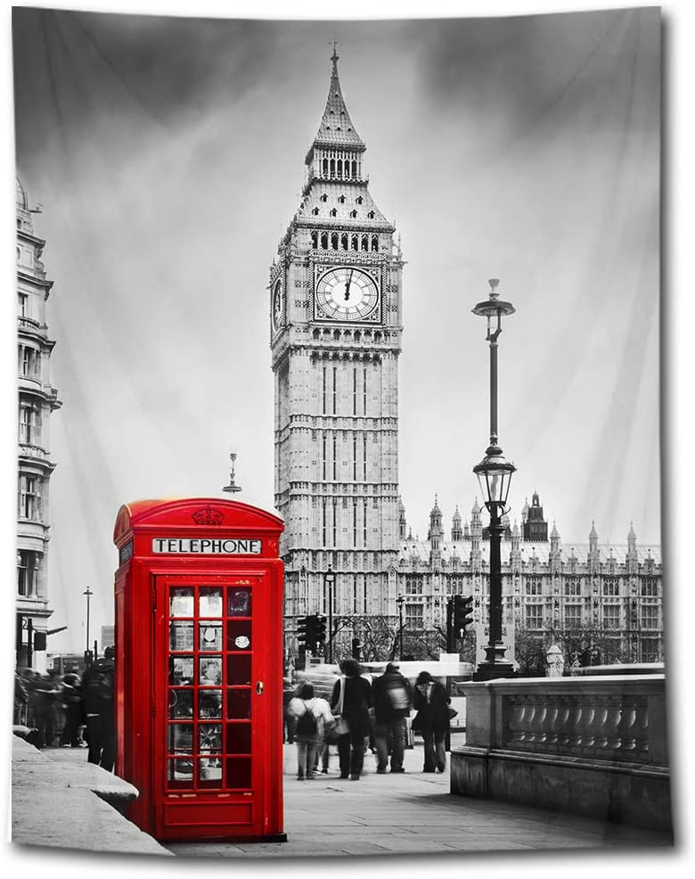 HVEST Big Ben Tapestry Red Phone Booth on The Street of London Wall Hanging Grey Cityscape Tapestries for Bedroom Living Room Dorm Party Decor,70.9Wx92.5H inches