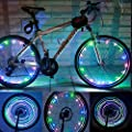 MrPower Super Bright 20-LED Bicycle Bike Rim Lights - Personalized LED Colorful Wheel Lights - Perfect for Safety and Fun - Easy to Install - Blue Green Red Pink White Multicolore