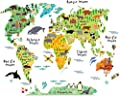 HomeEvolution Large Kids Educational Animal Landmarks World Map Peel & Stick Wall Decals Stickers Home Decor Art Nursery