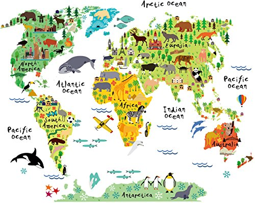 Decals Wall Appliques (HomeEvolution Large Kids Educational Animal Landmarks World Map Peel & Stick Wall Decals Stickers Home Decor Art for Nursery)