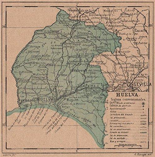 Mapa De Huelva Capital.Amazon Com Huelva Andalucia Mapa Antiguo De La Provincia