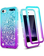Ruky iPod Touch 7th 6th 5th Generation Full Body Glitter Case for Girls with Built-in Screen Protector Cute Bling Liquid Heavy Duty Shockproof Protective Girls Case for iPod Touch 7 6 5, Aqua
